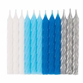 BlueWhite Silver Spiral Bday Candles 24 pieces
