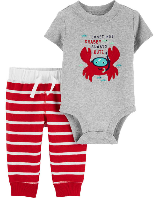 Carter's 2-Piece Crab Bodysuit Pant Set - Red/Grey, 6 Months