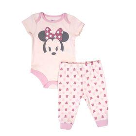 Disney Minnie Mouse 2-Piece Bodysuit and Pant Set - Pink, 9 Months