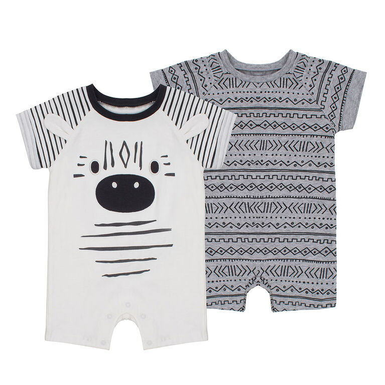 PL Baby Safari Dual Pack Rompers Off White 3M