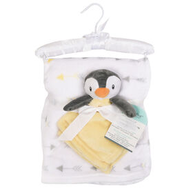 Baby's First By Nemcor 2 Piece Set- Penguin with Arrow Design Blanket