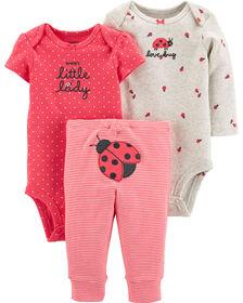 Carter's 3-Piece Ladybug Little Character Set - Pink, 3 Months