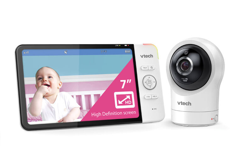 """VTech RM7764HD Smart Wi-Fi Video Baby Monitor with 7"""" display and 1080p HD 360 degree, Panoramic Viewing Pan & Tilt Camera, White - R Exclusive"""