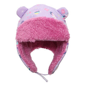 FlapJackKids - Baby, Toddler, Kids, Girls - Water Repellent Trapper Hat - Sherpa Lining - Unicorn/Lilac - Large 4-6 years