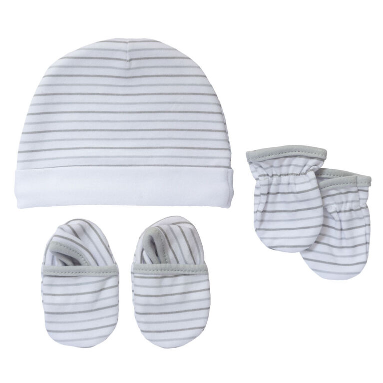 Koala Baby Hat, Mittens And Booties - Grey Stripes, size 0-3 months
