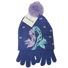 Disney - Frozen II - Girls pompom toque and matching gloves - Purple