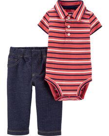 Ensemble 2 pièces cache-couche rayé de style polo et pantalon Carter's - corail/bleu, 18 mois