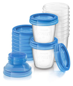 Philips AVENT Reusable Breast Milk Storage Cups, 6oz - 10-Pack