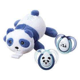Animal en pelluche Paci-Snuggie avec deux sucettes, 0-6 mois - Panda