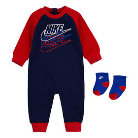 Nike Futura Coverall With Socks - Navy With Red, Size 0-3 Months