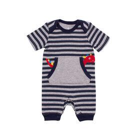 Snugabye Garcons - Barboteuse longue avec poches - rayures bleues/gris - 6-9 mois