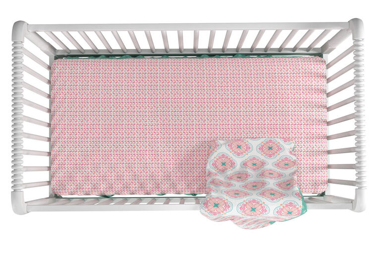 Little Seeds Cora Crib & Toddler Bedding Set, Pink