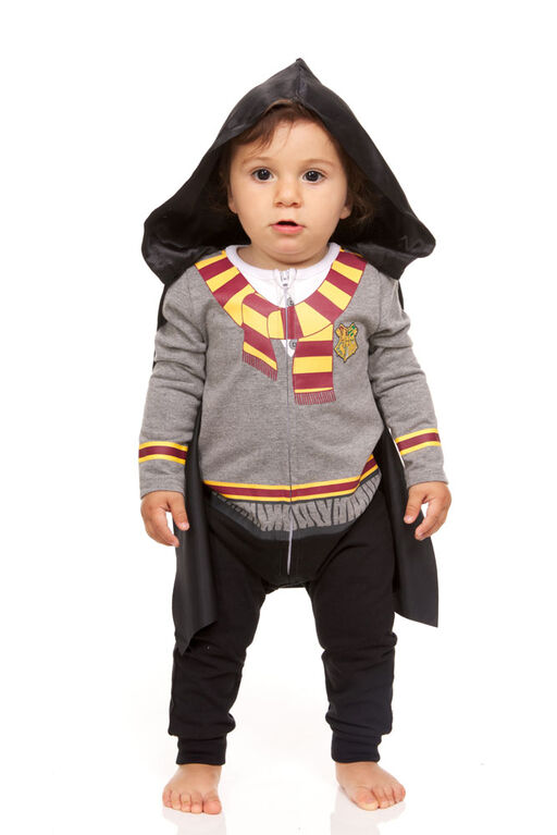 Harry Potter Newborn Hooded Caped Romper 3M Grey