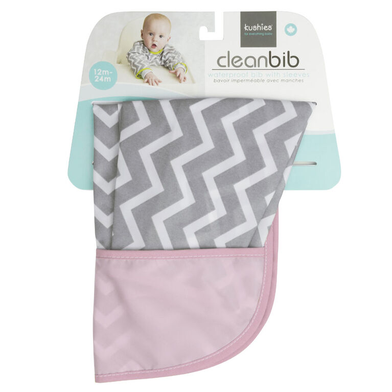 Kushies Cleanbib Waterproof Bib with Sleeves 12-24M - Pink Chevron