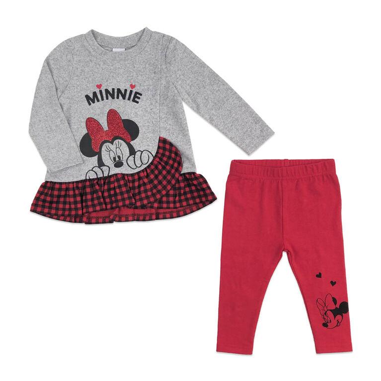 Disney Minnie Mouse Ensemble Tunique 2 Pièces - Rouge, 6 Mois