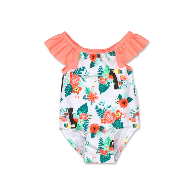 Koala Baby 1Pc Swimsuit Coral Toucan Print, 3-6 Months