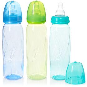 Biberons ventilés en polypropylène et verre teinté Vented + Evenflo – sarcelle, vert, bleu, 8oz, emballage de 3.