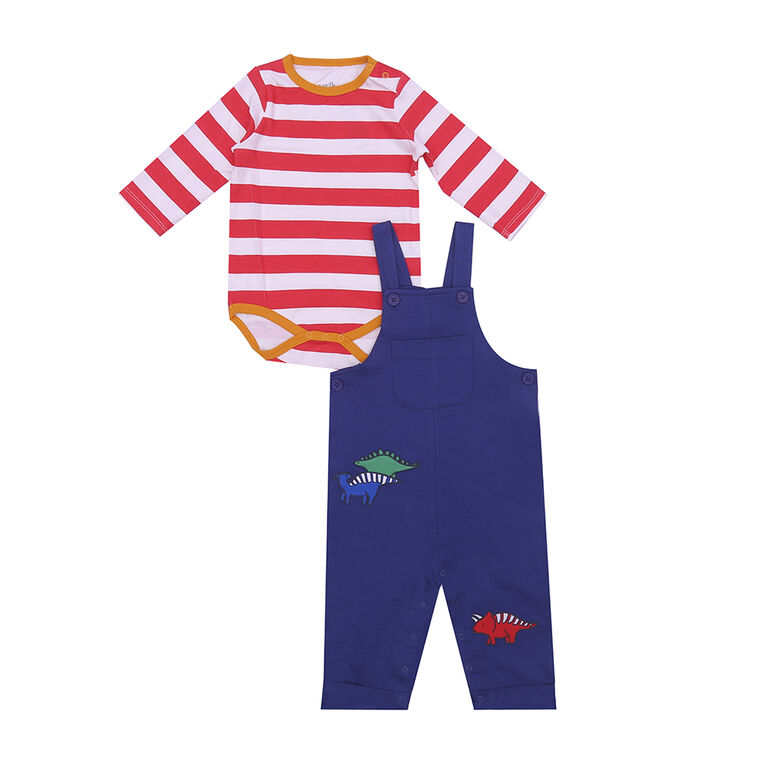 earth by art & eden - Kyle2 Piece Overall Set - Tomato/Whisper White, 3 Months