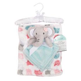 Baby's First By Nemcor Ensemble de 2 pièces- Couverture design l'elephant avec rose l'elephant.