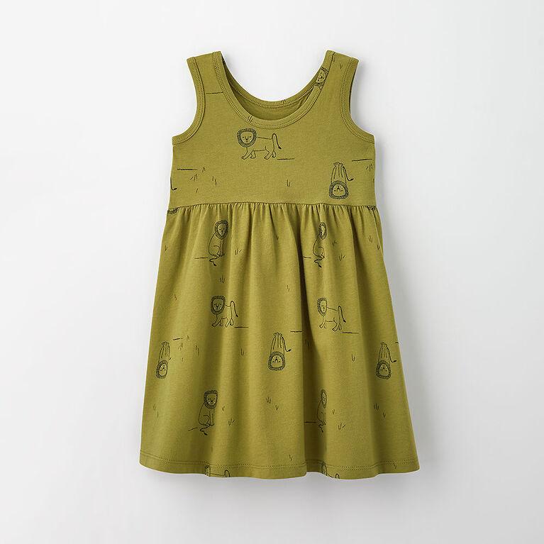 twirler tank dress, 3-6m - light green print