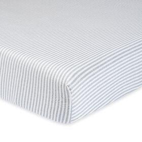 Gerber Organic Fitted Crib Sheet, Gray/Ivory Stripe