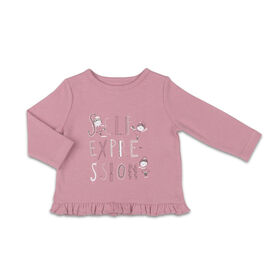The Peanutshell Baby Girl Layette Mix & Match Self Expression Ruffle Bottom Long Sleeve Shirt - 18-24 Months