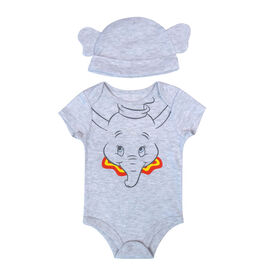 Disney Dumbo 2-Piece Bodysuit and Hat - Grey, Newborn