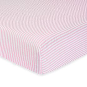 Gerber Organic Fitted Crib Sheet, Pink/White Stripe