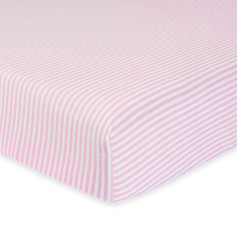Gerber Organic Fitted Crib Sheet, Pink/White Stripe