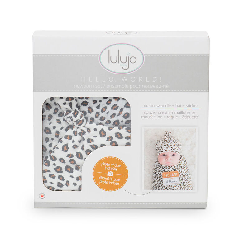Lulujo Baby Hello World Newborn Bamboo Hat and Swaddle Blanket Set Leopard