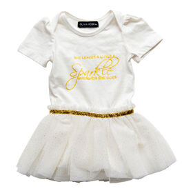 Olivia Rose –Short Sleeve Fairy Print Tutu Dress – White - 12 Months