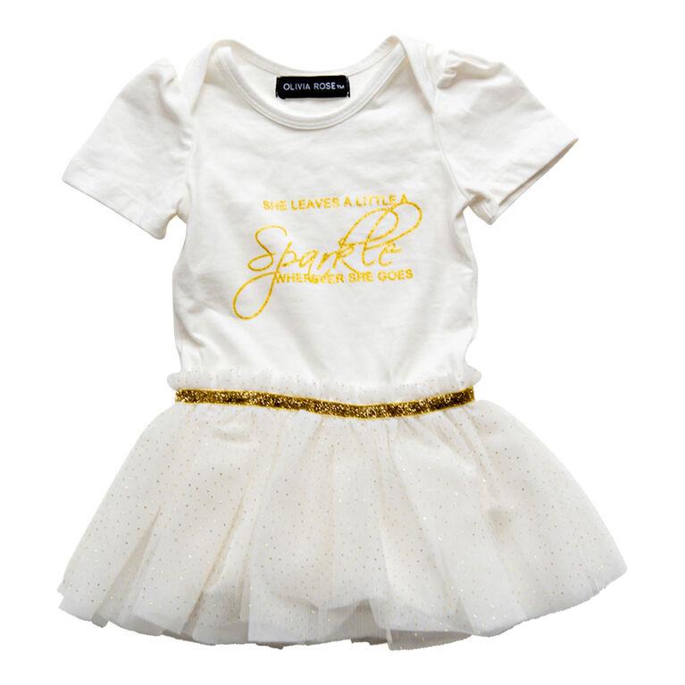 Olivia Rose –Short Sleeve Fairy Print Tutu Dress – White - 12 Months