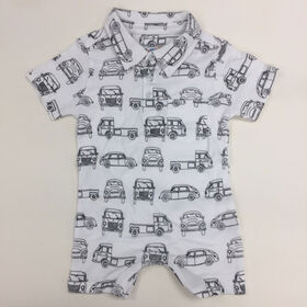 Coyote and Co. Car Print one-piece short set with collar - size 18-24months