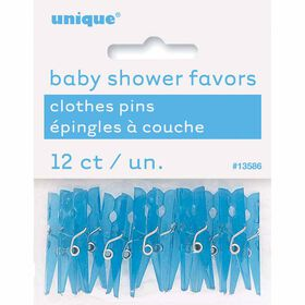 Baby Blue Clothespin Favors, 12 pieces