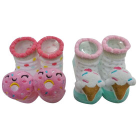 So Dorable 2 Pack Rattle Booties With 3D Icons -  Donut / Ice Cream 0-12M