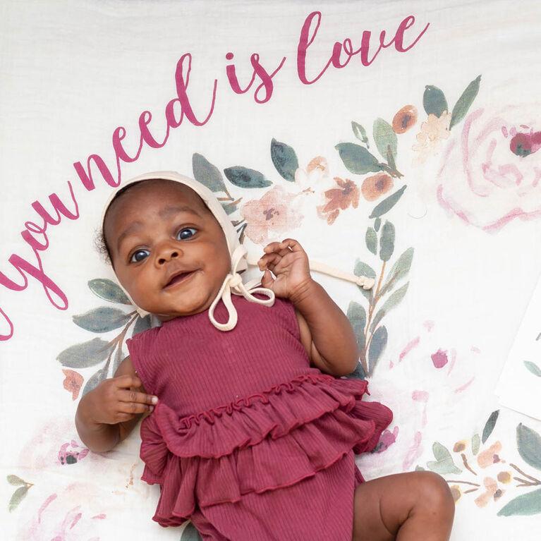 Lulujo - 1ère année de bébé - jalon mensuel photographie fond Prop, couverture et jeu de cartes - Tout ce dont vous avez besoin c'est de l'amour