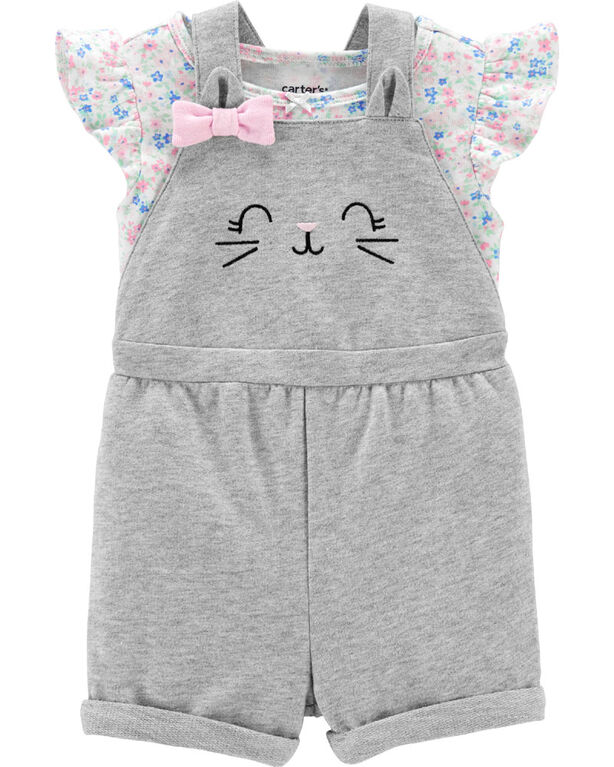 Carter's 2-Piece Floral Tee & Cat Shortall Set - Grey, 3 Months