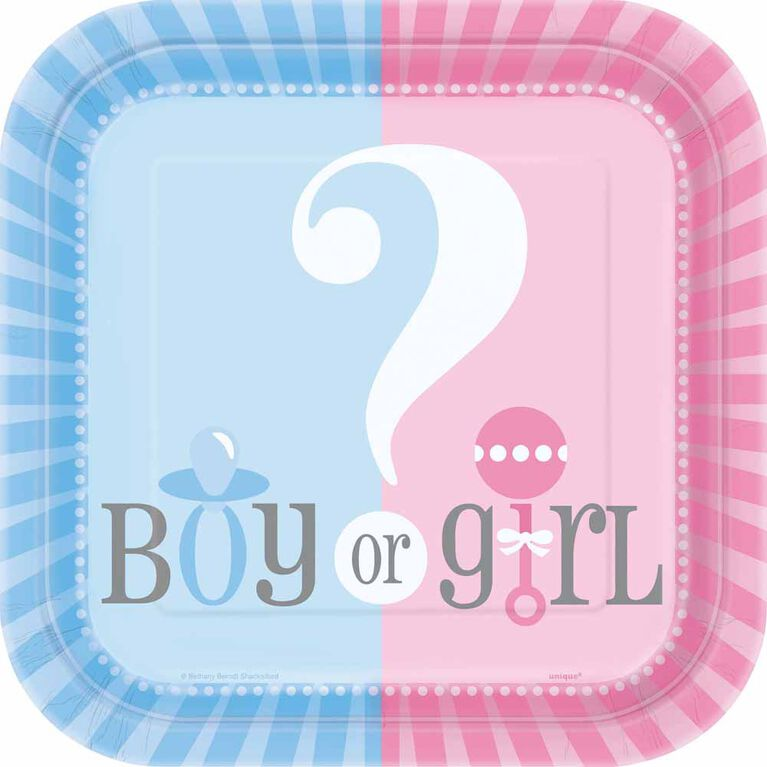 """Gender Reveal Square 7""""  Plates, 10 pieces - English Edition"""