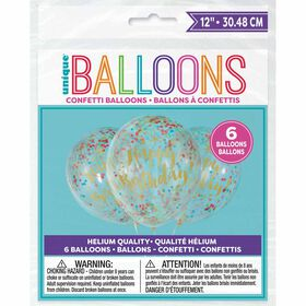 "Gold Clear Latex Balloons with Confetti 12"" 6 pieces - English Edition"
