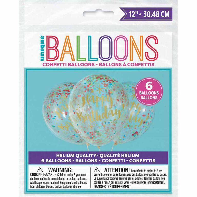 6 Ballons En Latex Transparents D`Anniversaire D`Or Scintillants Avec Confettis 12 ``- Pré-Remplis - Édition anglaise