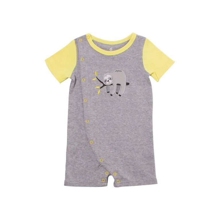 Snugabye Boys-Side Opening Romper- Grey/Lime Sloth 6-9 Months