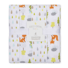 Fall's Creek  4Pk Receiving Blankets - Tear Drops & Forest - English Edition