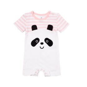 Snugabye Girls-Panda Face Romper-Pink/White Stripes 6-9 Months