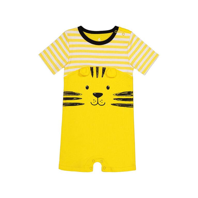 Snugabye Garcons - Barboteuse a manches courtes - face de lion jaune et noir 6-9 mois