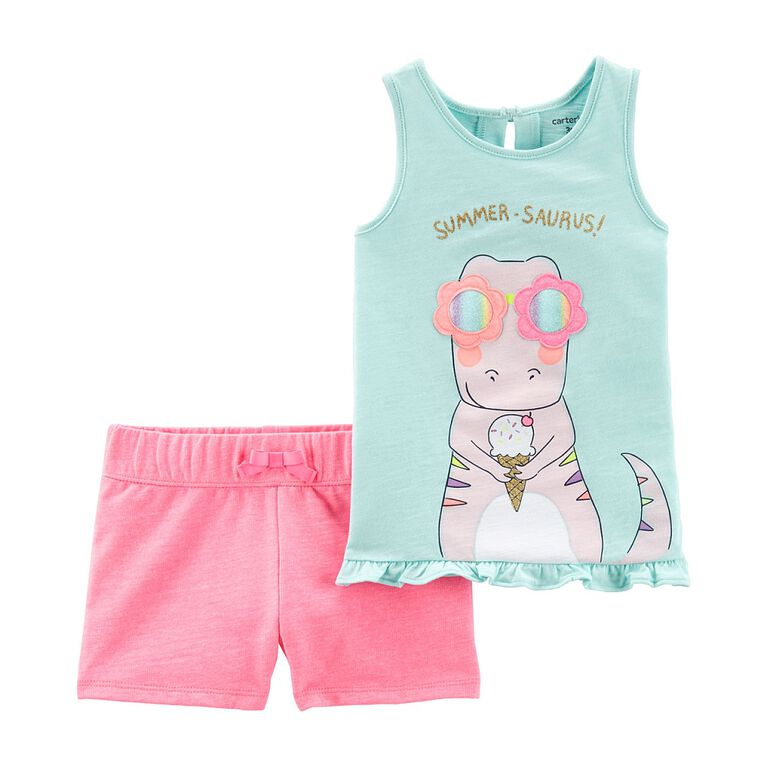 Carter''s 2-Piece Dinosaur Tank & Short Set - Blue, 12 Months
