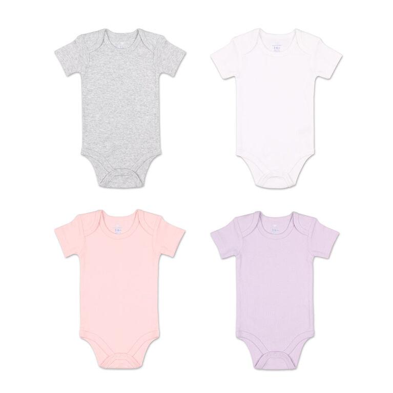 Koala Baby 4Pk Short Sleeved Solid Bodysuits, Pink/Lavender/Heather Grey/White, Size Preemie