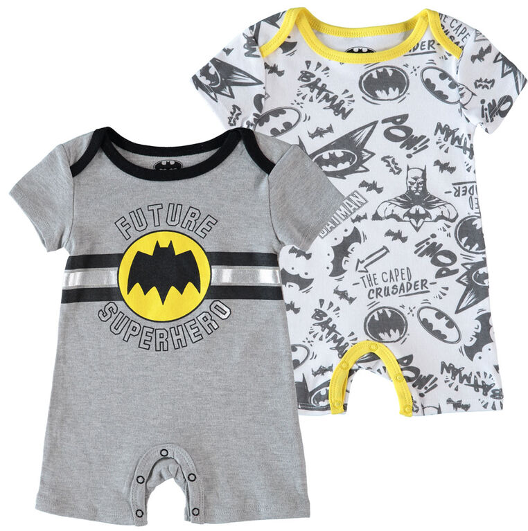 Batman Newborn Future Superhero 2 Pack Rompers 3-6M Grey