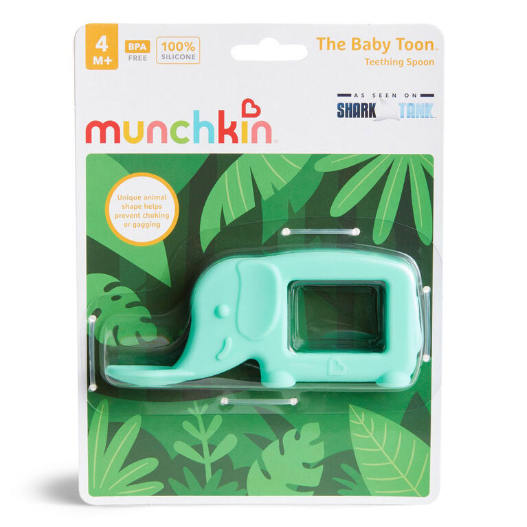 The Baby Toon Silicone Teething Spoon, Mint Elephant - English Edition
