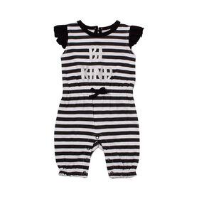 Snugabye Filles - Barboteuse Longue a manche volantee - noir/blanc 6-9 mois