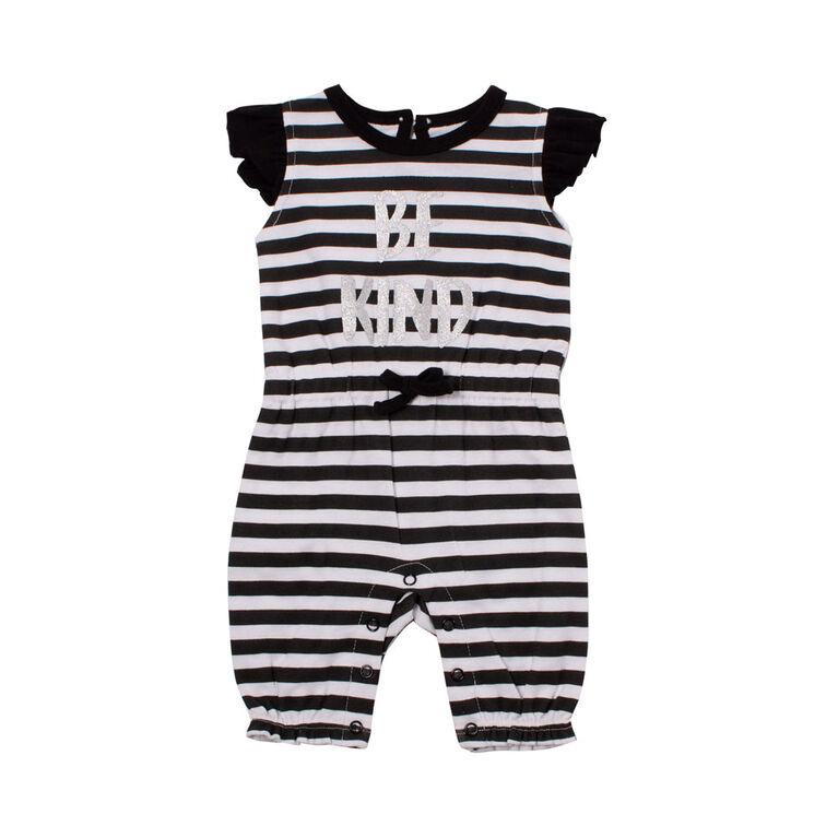 Snugabye Girls-Ruffle Sleeve Long Romper-Blk/White 6-9 Months